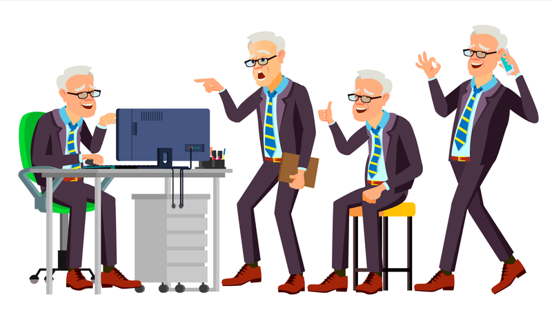 Old Office Worker Vector. Face Emotions, Various Gestures. Businessman Person. Smiling Executive, Servant, Workman, Officer. Isolated Character Illustration Illustration