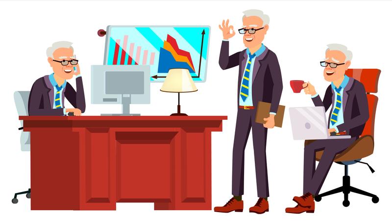 Old Office Worker Vector. Face Emotions, Various Gestures. Businessman Worker. Happy Job. Partner, Clerk, Servant, Employee. Isolated Flat Cartoon Illustration Illustration