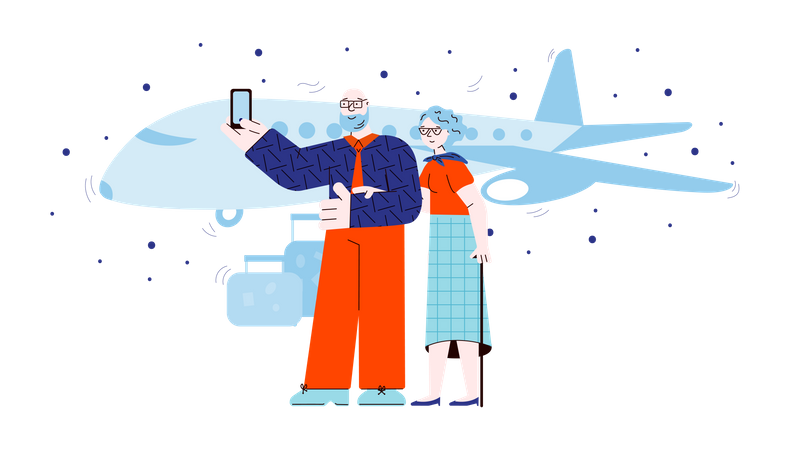 Old people taking selfie in front of airplane Illustration