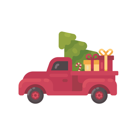Old Red Truck With Christmas Tree And Presents Illustration