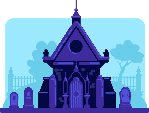Old stone vault in cemetery Illustration