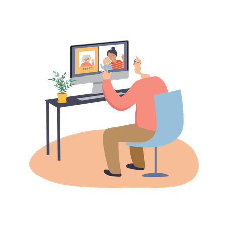 Old woman chatting on video call Illustration
