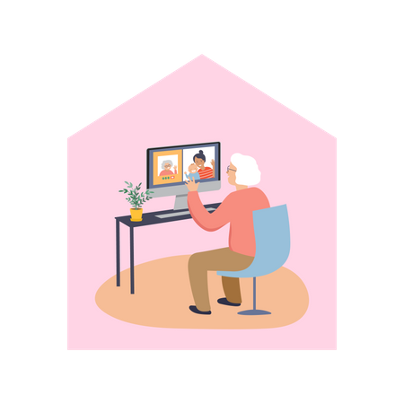 Old woman chatting on video call in the home Illustration