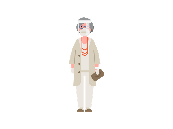 Old woman standing wearing face shield, mask and gloves Illustration
