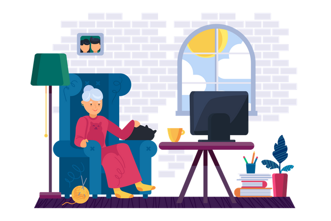 Old woman watching tv Illustration