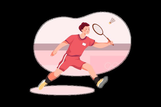 Olympic Badminton match Illustration