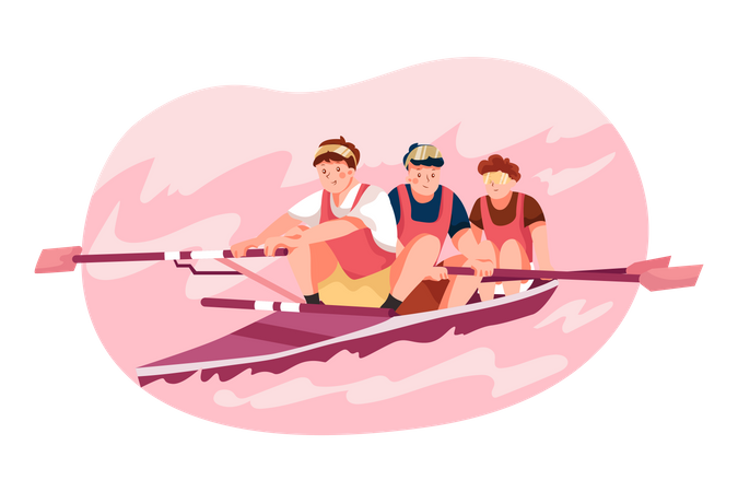 Olympic boating game Illustration