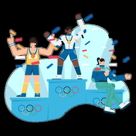 Olympic Medal Winners Illustration
