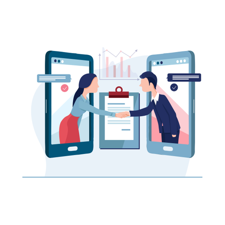 Online agreement and deal concept Illustration