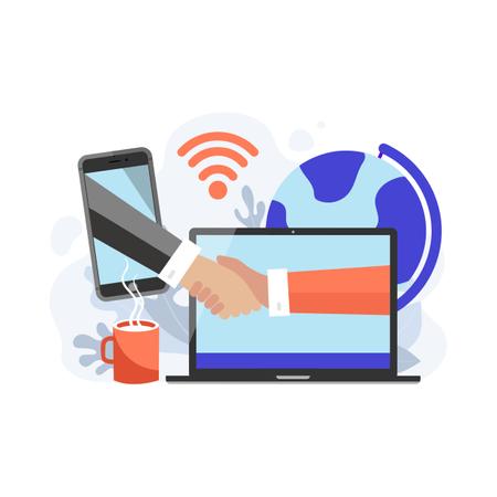 Online agreement via smart phone and laptop Illustration