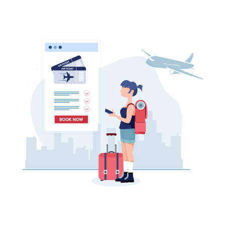 Online air ticket booking through application Illustration