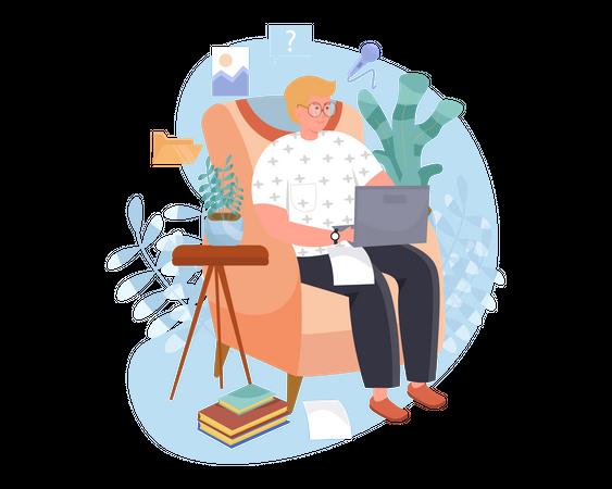 Online Article Writer Illustration