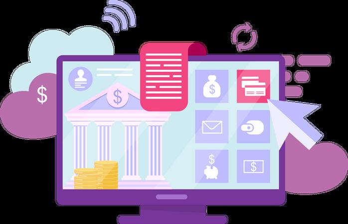 Online banking account Illustration