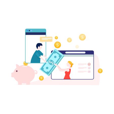 Online banking and money transfer Illustration
