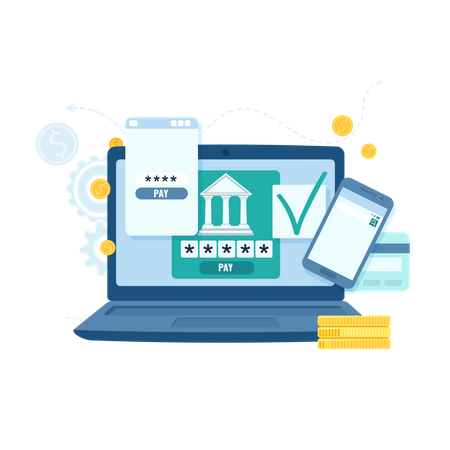 Online Banking And Transaction For Business Illustration