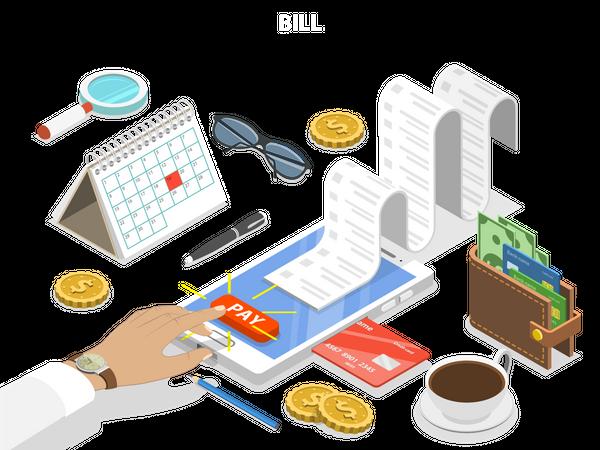 Online bill payment Illustration