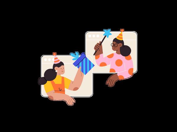 Online Birthday celebration Illustration