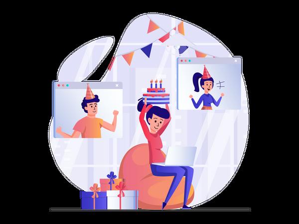 Online birthday party Illustration