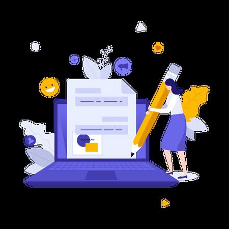 Online blogging Illustration