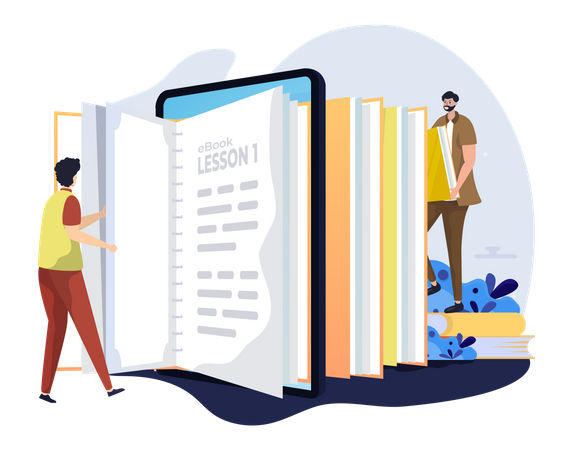 Online book reading Illustration