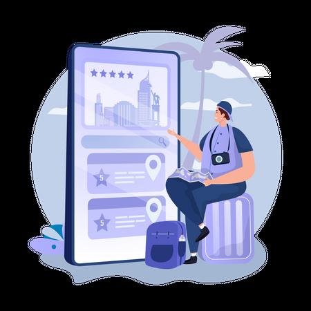 Online booking mobile app Illustration
