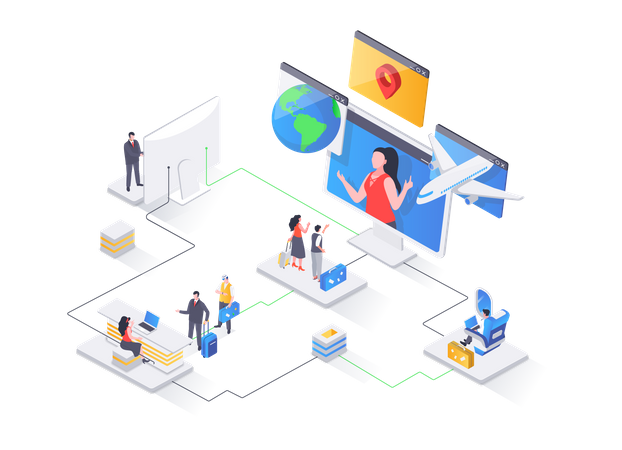 Online booking service, comfortable air transportation, airport boarding isometry concept Illustration