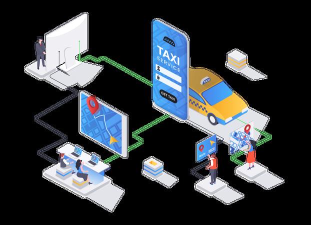 Online booking service of passenger transportation Illustration