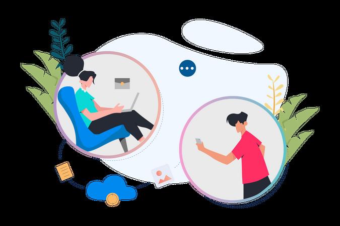 Online Business Communication Illustration