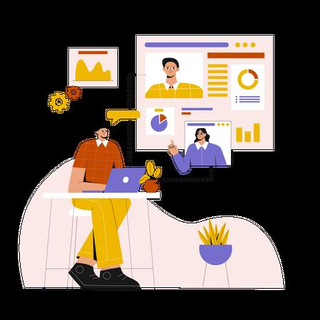 Online Business Conference Illustration