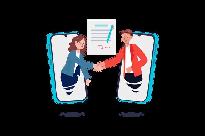 Online Business Deal Illustration