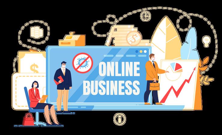 Online Business during Coronavirus Illustration