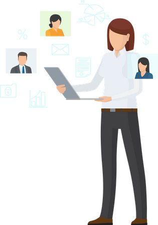 Online Business for Companies and Investors Illustration