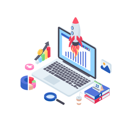 Online Business Launch Illustration