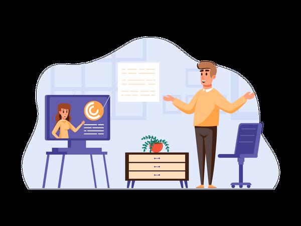 Online Business Meeting Illustration