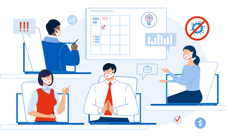 Online Business Meeting during coronavirus Illustration