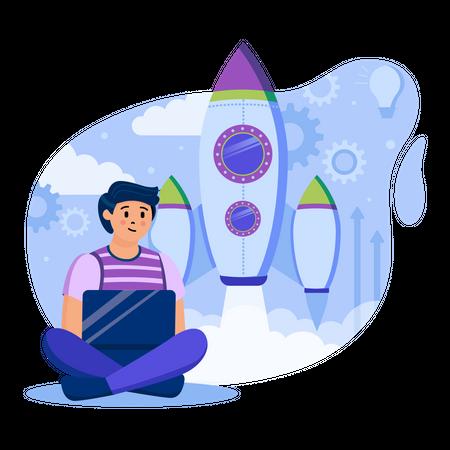 Online Business Startup Illustration