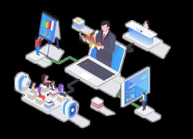 Online Business training Illustration