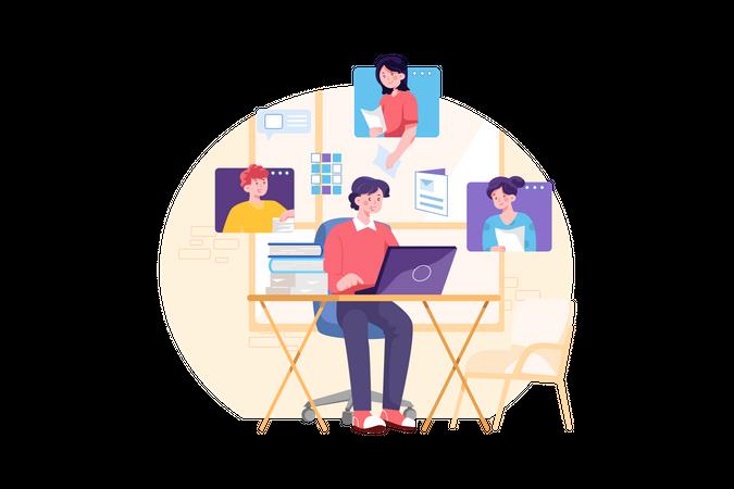 Online business video conference Illustration