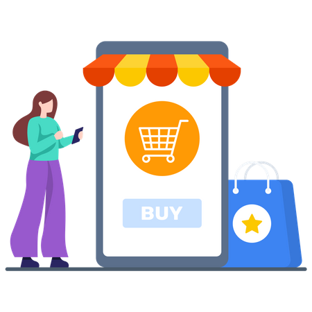 Online buying From M-commerce Illustration