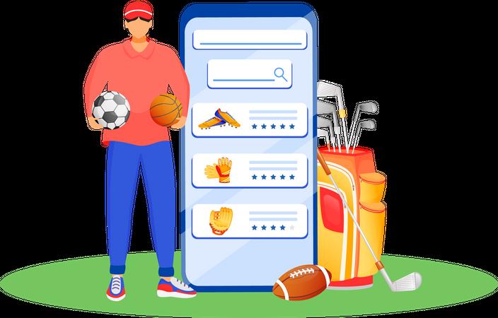 Online buying sports equipment Illustration
