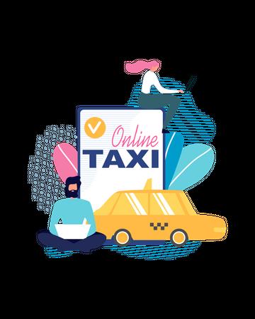 Online cab booking Illustration