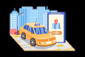Cab Service Illustration Pack