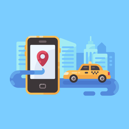 Online Cab Booking Application Illustration
