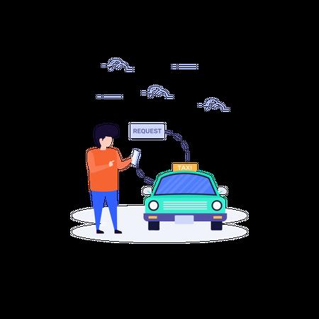 Online cab booking concept Illustration