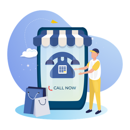 Online call for customer support concept Illustration
