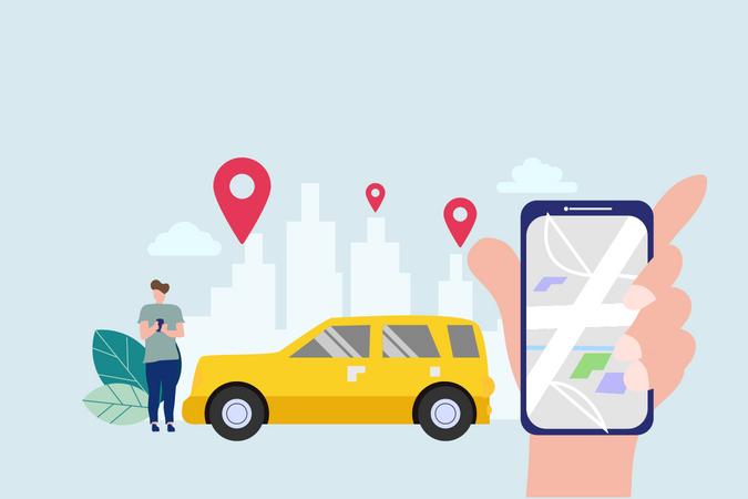 Online car sharing Illustration
