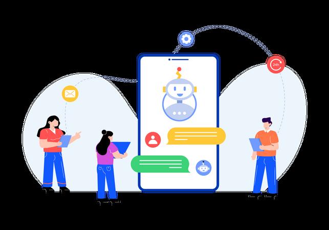 Online chatbot support Illustration