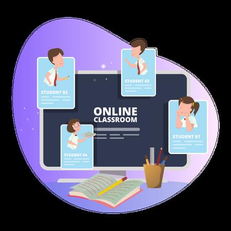 Online classroom Illustration