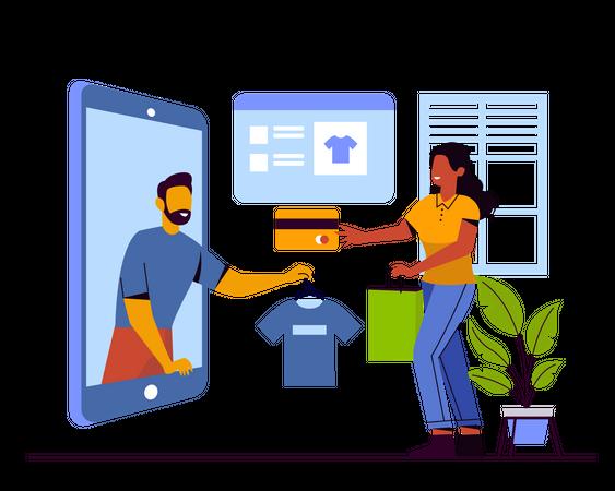 Online clothe shopping Illustration