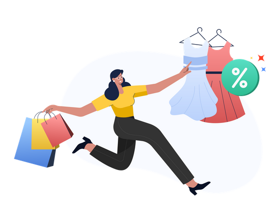 Online Clothes shopping Illustration